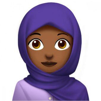 Emoji perempuan berjilbab yang akan ikut ditambahkan dalam daftar emoji baru di iOS 11.1.