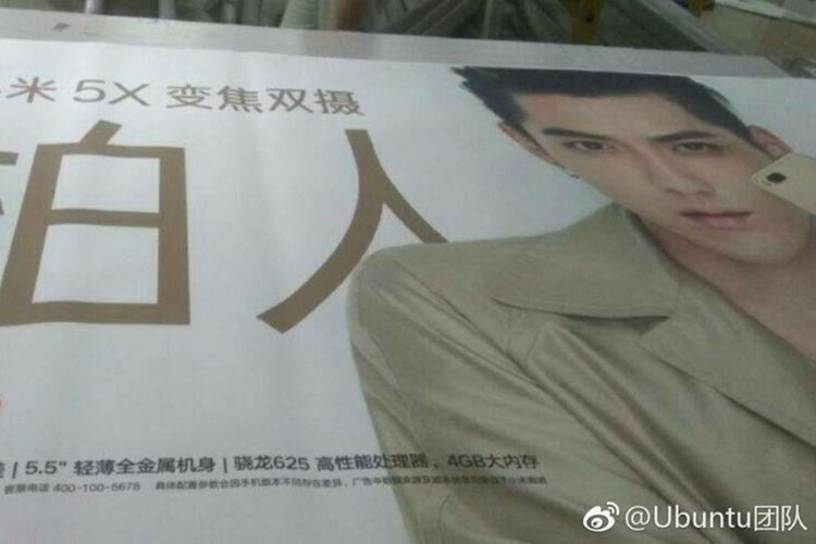 Bocoran poster promosi Xiaomi 5X