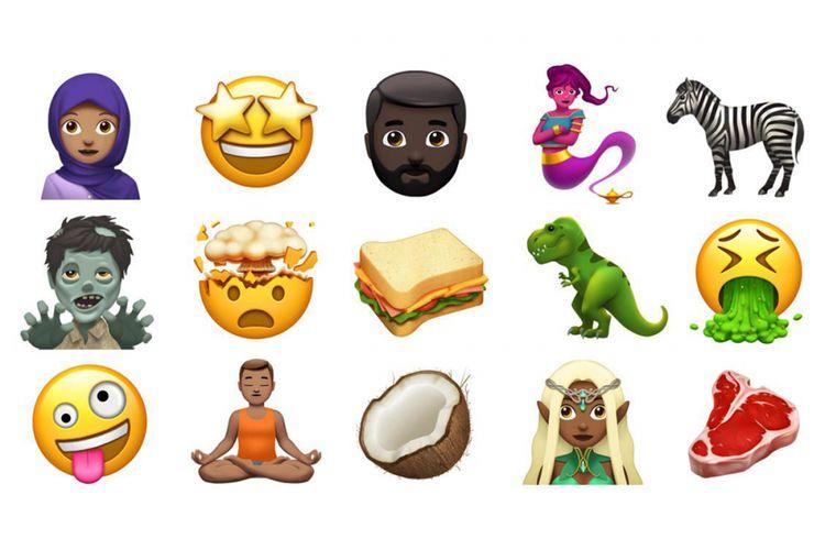 Sebagian desain emoji baru yang dipamerkan oleh Apple.