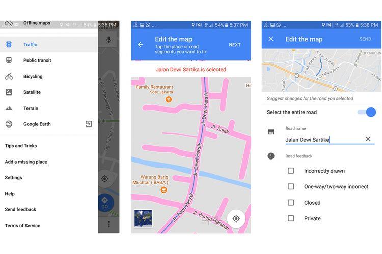Fitur editing/ pelaporan kesalahan informasi tentang jalanan di peta Google Maps. Selain jalanan, informasi tempat juga bisa diusulkan untuk diubah.