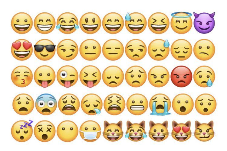 Contoh-contoh emoji baru hasil rancangan WhatsApp.