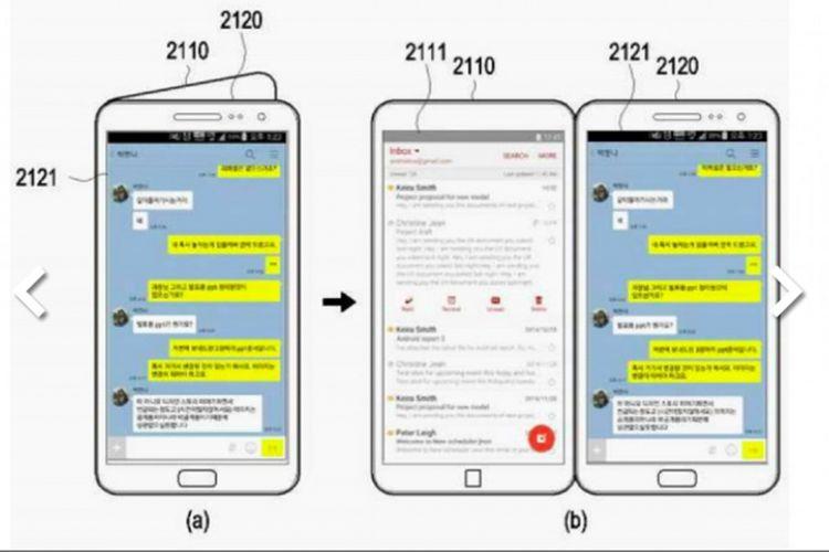 Bocoran tampilan layar Galaxy X saat menjalankan dua aplikasi berbeda di masing-masing layar lipatnya, sebagaiaman diperoleh dari dokumen paten Samsung.