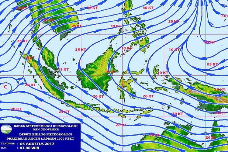 Prakiraan angin BMKG pada 5 Agustus 2017. Tanda panah menunjukkan arah angin. Tiupan angin dari Australia yang tidak membawa uap air memicu hawa dingin di sejumlah wilayah Indonesia saat malam.
