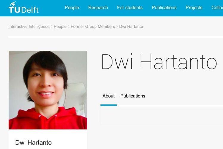 Profil Dwi Hartanto yang ditemukan di halaman web tudelft.nl.