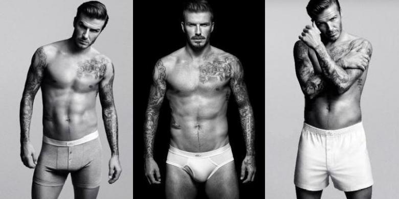 Meskipun David Beckham terlihat paling seksi dengan celana dalam superketat (tengah), perempuan Inggris lebih suka pria yang memakai celana model boxer (seperti dalam gambar kiri atau kanan).
