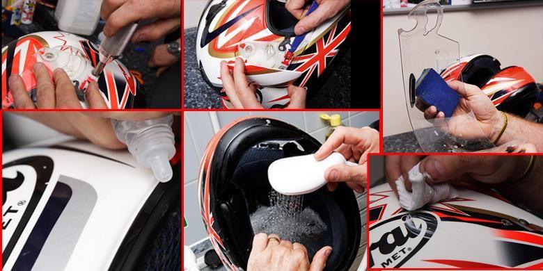 Membersihkan helm.
