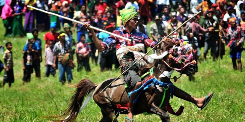 Pasola, tradisi perang-perangan dengan menunggang kuda sambil menyerang lawan dengan lembing di Pulau Sumba, Nusa Tenggara Timur.
