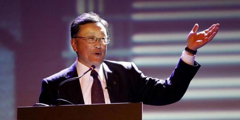 CEO BlackBerry John Chen berbicara di acara peluncuran perdana BlackBerry Z3 Jakarta Edition di Jakarta, 13 Mei 2014. Smartphone ini andalan baru BlackBerry yang sengaja dibikin untuk menyasar pasar negara berkembang seperti Indonesia, benteng terakhir buat produsen Kanada tersebut.