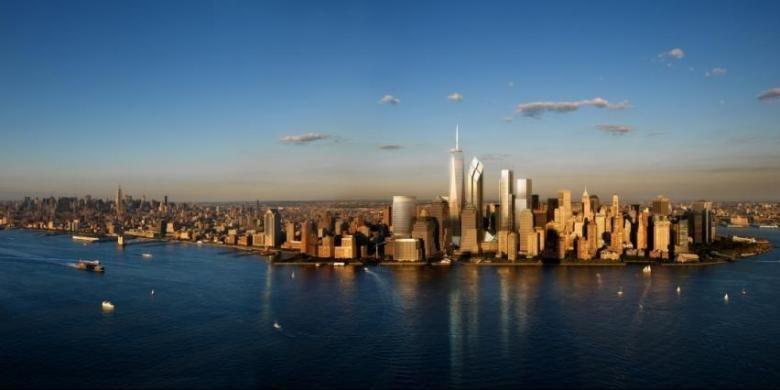 Rendering Lower Manhattan, ketika area World Trade Center rampung pada 2018.
