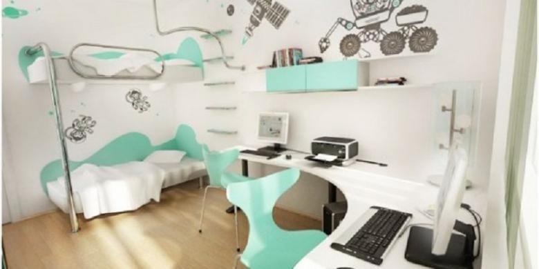 Kamar anak dengan desain, warna dan furnitur yang netral.
