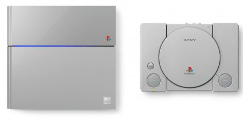 Konsol Game Sony PlayStation 4 edisi terbatas dengan skema warna serupa PlayStation generasi pertama