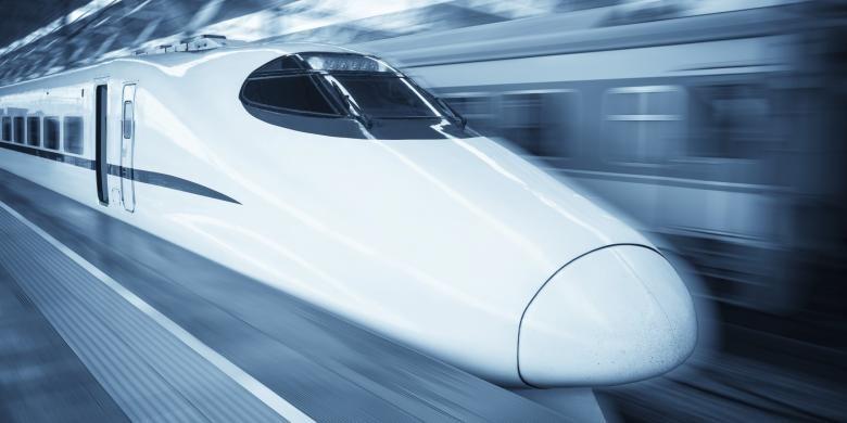 Ilustrasi kereta cepat.