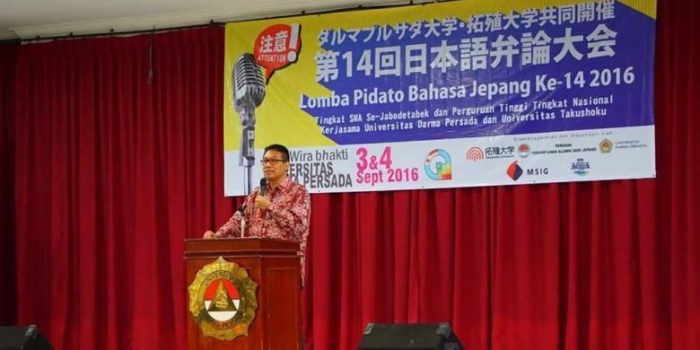 Rektor Unsada Dadang Solihin saat memberikan sambutan pada pembukaan acara Lomba Pidato Bahasa Jepang di Auditorium Grha Wira Bakti, Sabtu (3/9/2016) lalu.