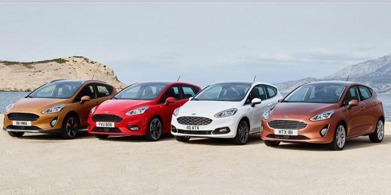 Deretan Ford Fiesta terbaru, terbagi dalam empat tipe degan tampang yang berbeda.
