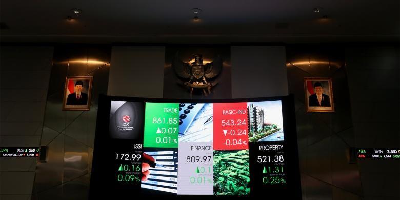 Layar monitor pergerakan Indeks Harga Saham Gabungan (IHSG) di Bursa Efek Indonesia, Jakarta, Jumat (6/1/2017).