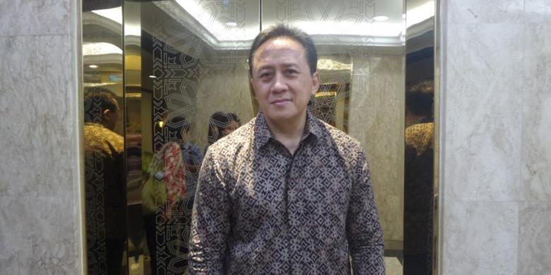 Triawan Munaf diabadikan usai konferensi pers Indonesian Creatif Incorporated (ICINC) oleh Badan Ekonomi Kreatif (Bekraf)  di Gedung Kementerian BUMN, Jakarta Pusat, pada Rabu (8/2/2017).