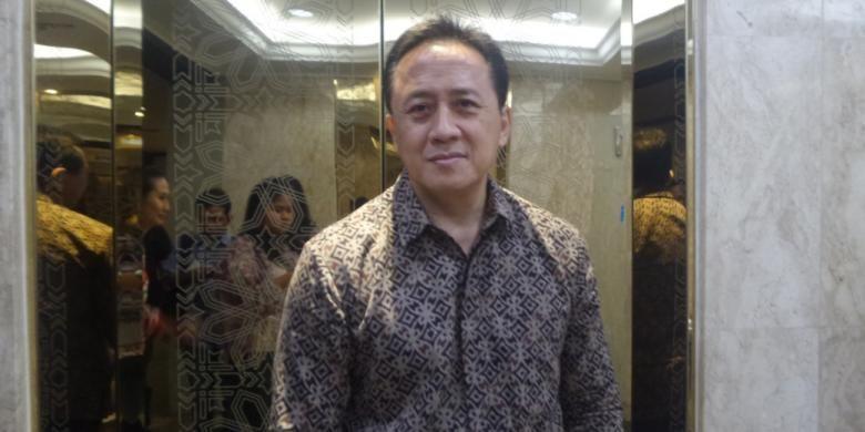 Triawan Munaf diabadikan usai konferensi pers Indonesian Creatif Incorporated (ICINC) oleh Bekraf  di Gedung Kementerian BUMN, Jakarta Pusat, pada Rabu (8/2/2017).