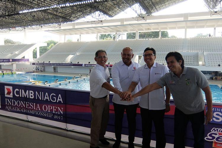 Test event cabang renang Asian Games 2018 mendatang akan berlangsung di kolam renang Stadion Baru Gelora Bung Karno, Senayan pada 5-15 Desember 2017. Para panitia terdiri dari Gatot TEtuko (GBK Senayan), Wisnu wardhana (PB PRSI), Tigor M. Siahaan (CIMB Niaga) dan Harlin E. Rahardjo (PB PRSI)