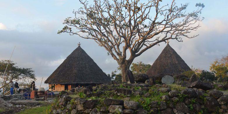 Kuburan leluhur di Kampung adat Mbaru Gendang Ruteng Puu, Kecamatan Langke Ruteng, Kabupaten Manggarai, Flores, Nusa Tenggara Timur salah satu kampung tertua di wilayah Flores Barat.