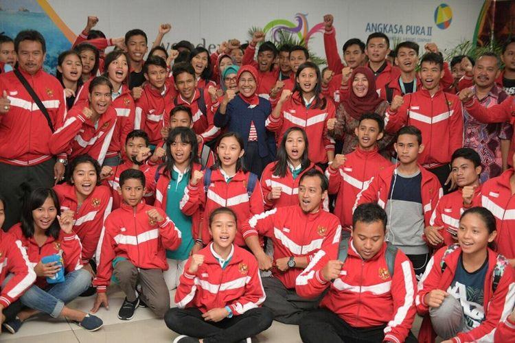 Kontingen Indonesia ASEAN Schools Games (ASG) 2017 tiba di Jakarta pada Jumat (21/7/2017) sore WIB.