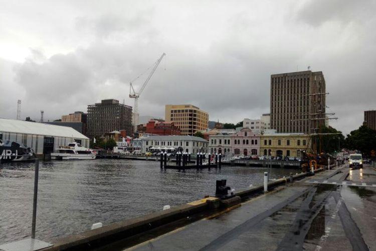 Suasana di salah satu sudut kota Hobart, Tasmania.