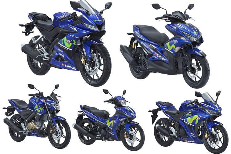 Lima model Yamaha terbaru dengan balutan livery Movistar MotoGP.