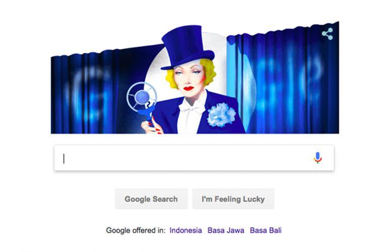 Marlene Dietrich dalam Google Doodle hari Rabu, 27 Desember 2017.
