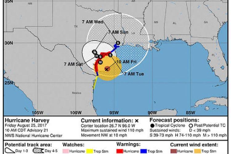Badai Harvey akan segera mendarat di Texas pada Sabtu (26/8/2017) pagi waktu setempat.