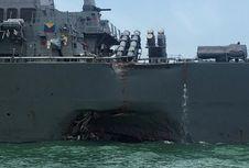 Begini Kondisi Kapal Perusak AS setelah Ditabrak Tanker di Singapura