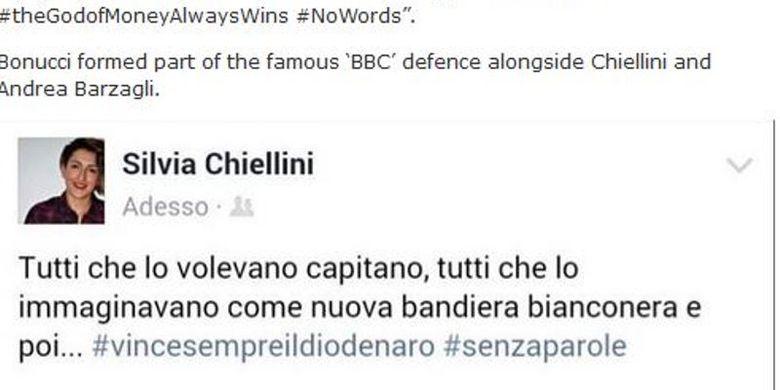 Kecaman saudari Giorgio Chiellini, Silvia Chiellini, kepada Leonardo Bonucci yang memilih tinggalkan Juventus untuk bergabung dengan AC Milan.