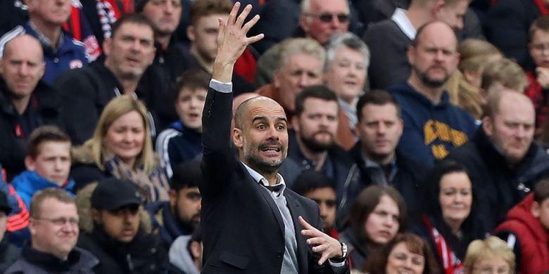 Ekspresi Manajer Manchester City, Josep Guardiola, dalam pertandingan perempat final Piala FA melawan Middlesbrough,  11 Maret 2017.