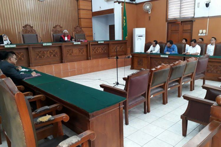 Suasana sidang praperadilan dengan agenda putusan Hary Tanoe melawan Bareskrim Polri di Pengadilan Negeri Jakarta Selatan, Senin (17/7/2017)