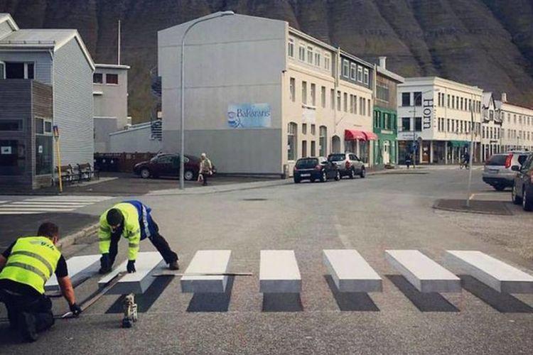 Zebra cross 3D di Islandia.