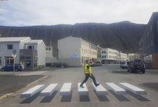 Kurangi Kecelakaan, Islandia Buat 'Zebra Cross' Tiga Dimensi