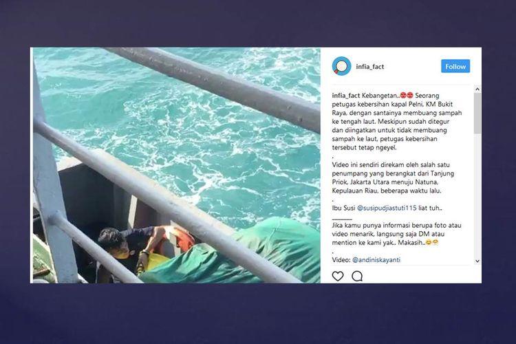 Sebuah video yang menunjukkan seorang petugas KM Bukit Raya membuang sampah ke tengah laut mendapatkan komentar negatif dari netizen.