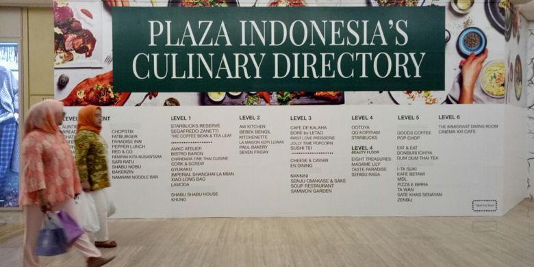 Daftar ke 33 gerai kuliner di Plaza Indonesia, yang mengikuti Festival Kuliner Dunia di tiap lantainya.