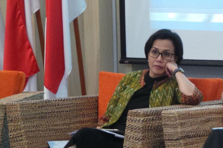 Menteri Keuangan Sri Mulyani di diskusi Forum Merdeka Barat 9, Gedung Kemenkominfo, Jakarta Pusat, Kamis (27/7/2017).