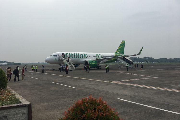 Penerbangan Perdana Citilink Rute Baru Halim-Silangit, di Bandara Internasional Silangit, Sumatera Utara, Sabtu (28/10/2017).