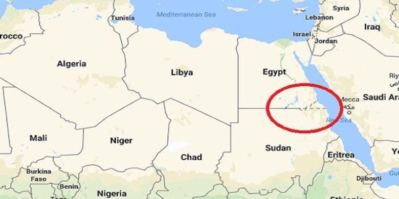 Bagian yang dilingkari di dalam peta ini menunjukkan lokasi Bir Tawil, wilayah tak bertuan di antara Mesir dan Sudan.(Telegraph)