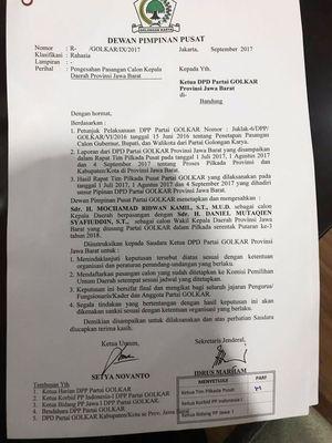 Beredar surat keputusan Golkar untuk mengusung Ridwan kamil dan Daniel Mutaqien untuk Pilkada Jawa Barat.