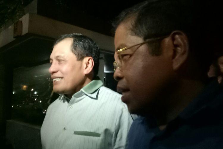 Ketua Harian Golkar Nurdin Halid dan Sekjen Golkar Idrus Marham