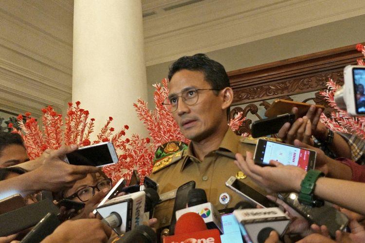 Wakil Gubernur DKI Jakarta Sandiaga Uno di Balai Kota DKI Jakarta, Jalan Medan Merdeka Selatan, Senin (6/11/2017).