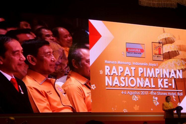 Ketua Umum Partai Hanura Oesman Sapta Odang saat membawakan sambutan di acara Rapimnas Hanura, Kuta, Bali, Jumat (4/8/2017).