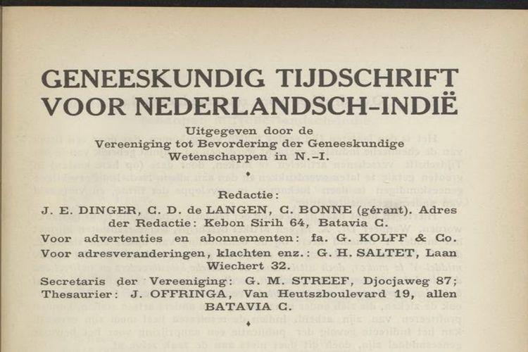 Jurnal Kedokteran Hindia Belanda (Geneeskundig Tijdschrift voor Nederlandsch Indië)