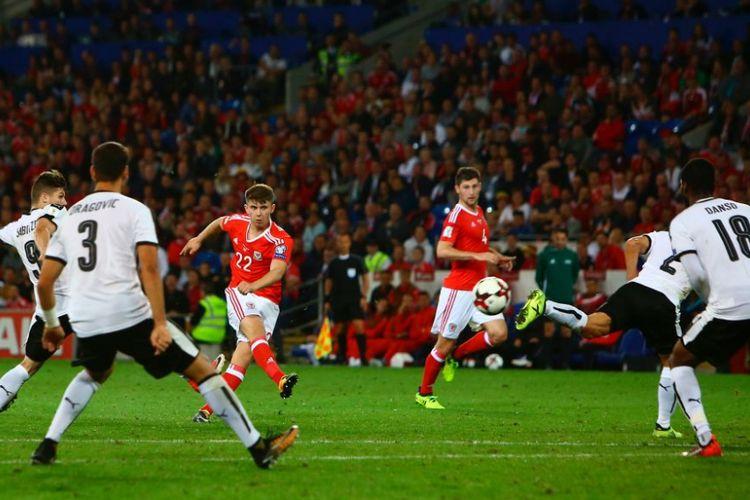 Striker Ben Woodburn mencetak gol kemenangan Wales atas Austria pada kualifikasi Piala Dunia 2018, Sabtu (2/9/2017).