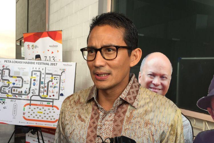 Wakil Gubernur terpilih DKI Jakarta Sandiaga Uno saat menghadiri Habibie Festival yang diadakan di JIExpo Kemayoran, Jakarta Pusat, Senin (7/8/2017).