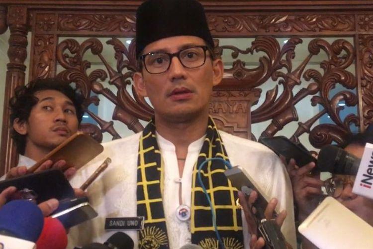 Wakil Gubernur DKI Jakarta Sandiaga Uno di Balai Kota DKI Jakarta, Jalan Medan Merdeka Selatan, Kamis (2/11/2017).