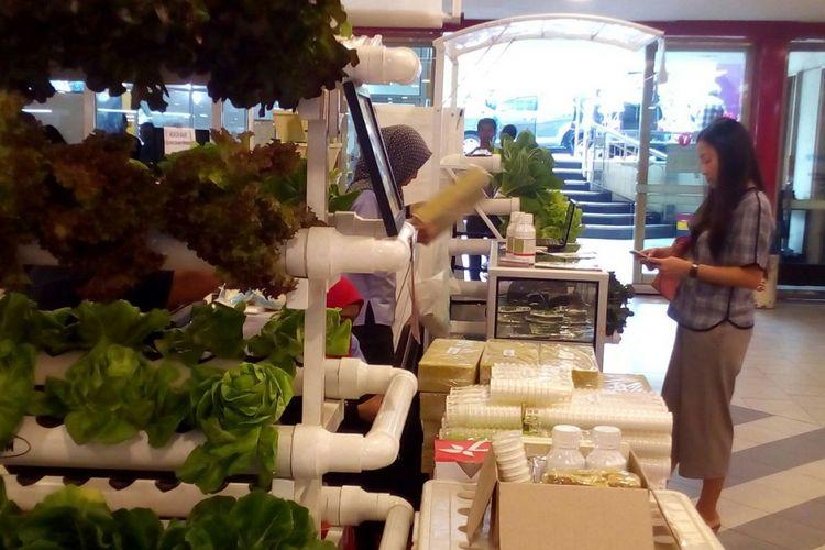 Salah satu gerai penjualan peralatan hidroponik di Lindeteves Trade Center (LTC), Jakarta Barat. Sampai dengan akhir 2017, LTC mematok mempertahankan target pengunjung 50.000 orang per hari.
