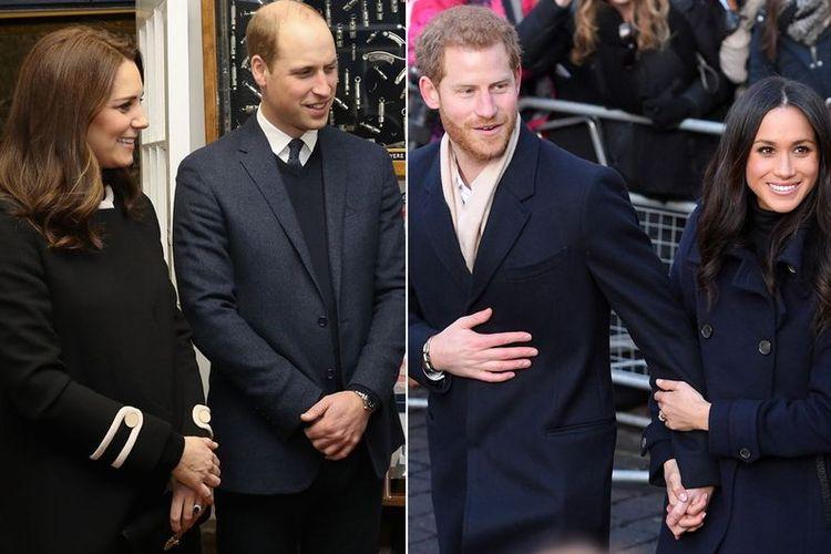 Pangeran William dan Kate Middleton, serta Pangeran Harry dan Meghan Markle.