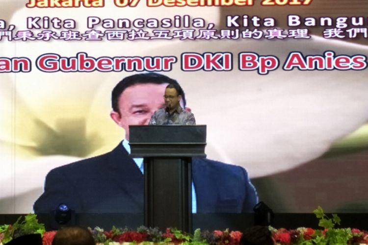 Gubernur DKI Jakarta Anies Baswedan saat menghadiri Hut XIX Paguyuban Sosial Marga Tionghoa Indonesia (PSMTI) yang digelar di Mangga Dua Square, Jakarta Utara, Kamis (7/12/2017).